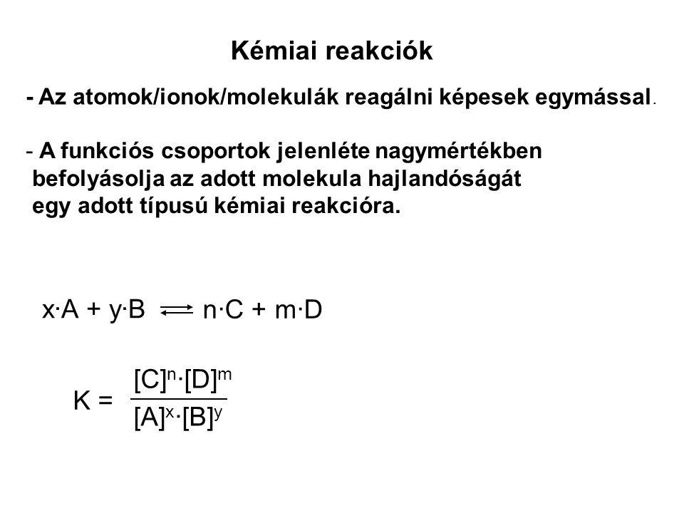 Kémiai reakciók x·A + y·B n·C + m·D [C]n·[D]m [A]x·[B]y K =